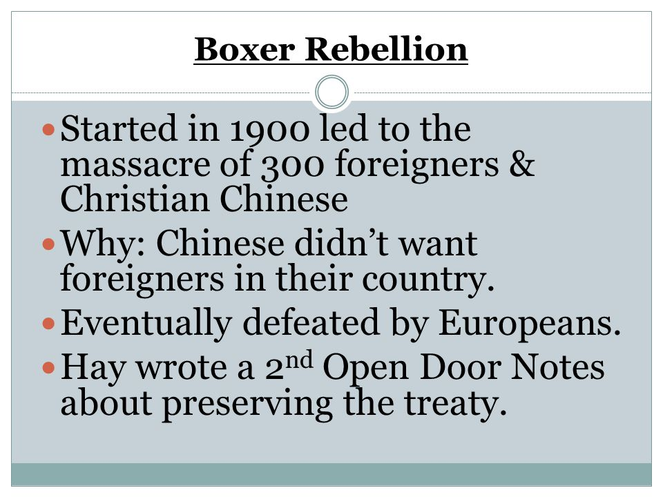 Why: Chinese didn't want foreigners in their country.