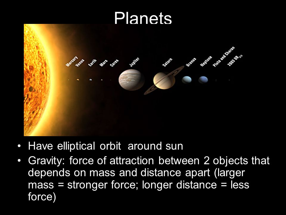 Planets Have elliptical orbit around sun