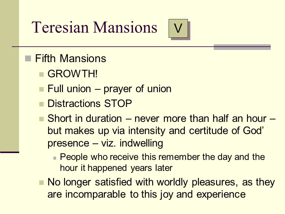 Teresian Mansions V Fifth Mansions GROWTH!