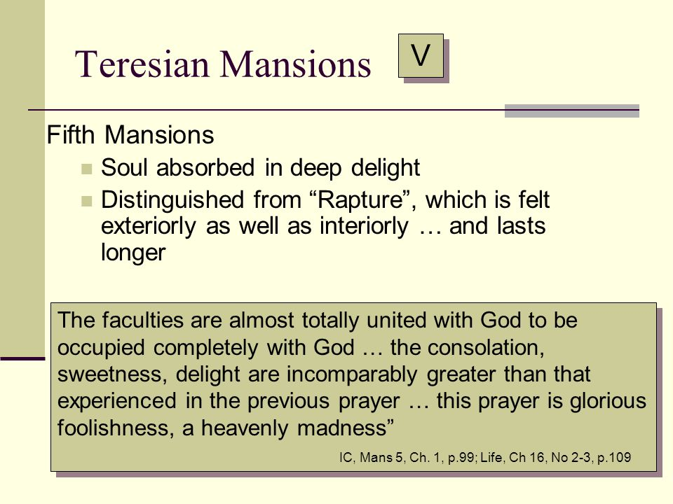 Teresian Mansions V Fifth Mansions Soul absorbed in deep delight