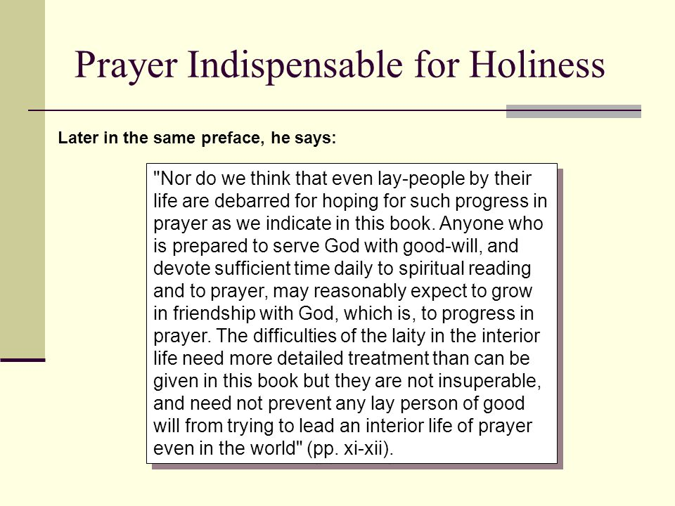 Prayer Indispensable for Holiness