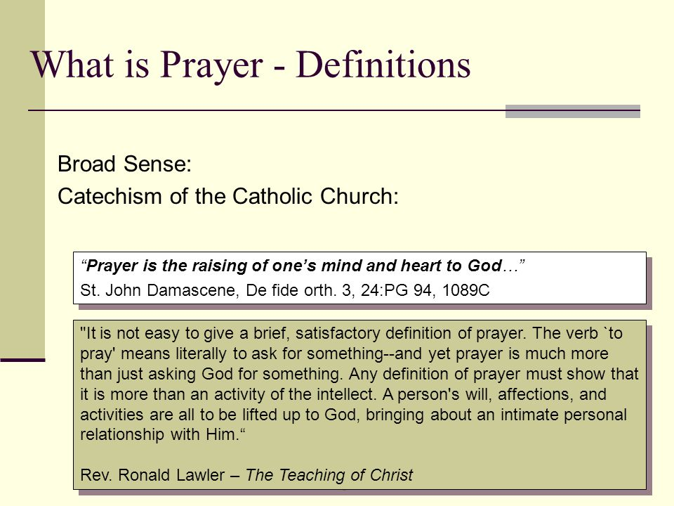What is Prayer - Definitions