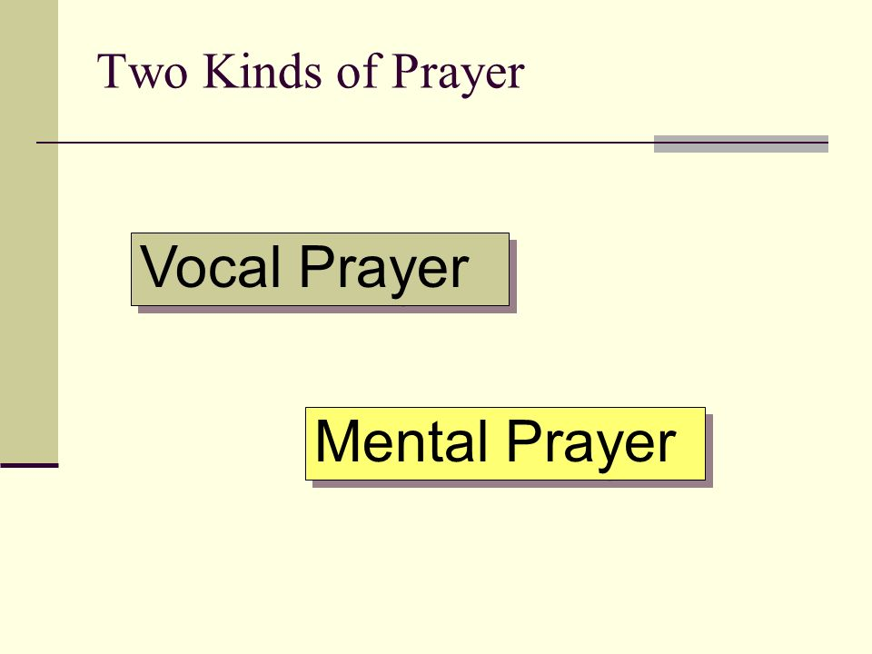 Vocal Prayer Mental Prayer Two Kinds of Prayer
