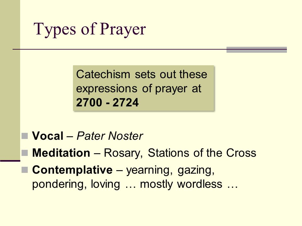 Types of Prayer Catechism sets out these expressions of prayer at