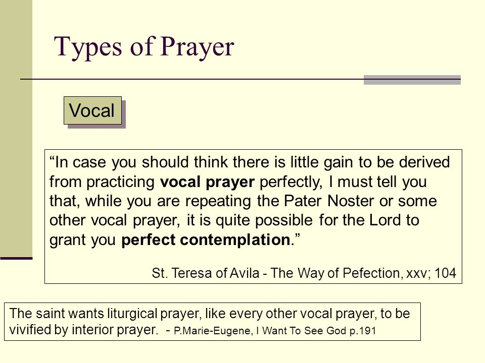 Types of Prayer Vocal.