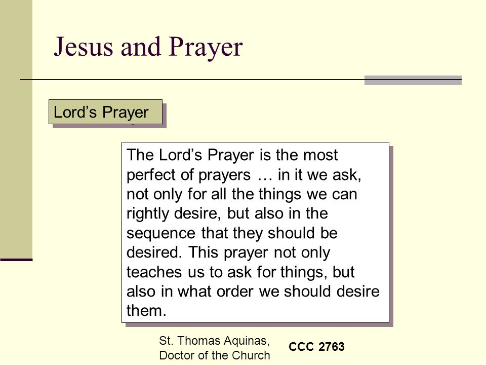 Jesus and Prayer Lord's Prayer