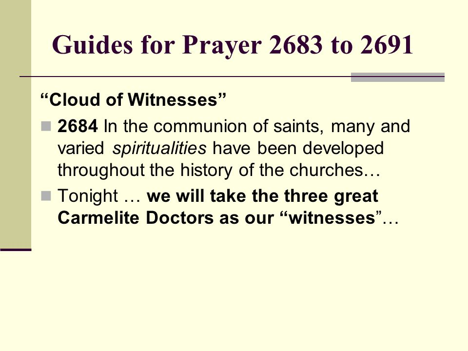 Guides for Prayer 2683 to 2691 Cloud of Witnesses