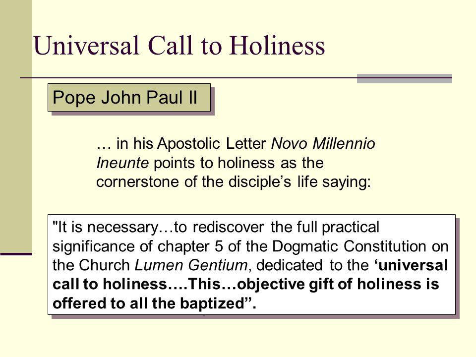 Universal Call to Holiness