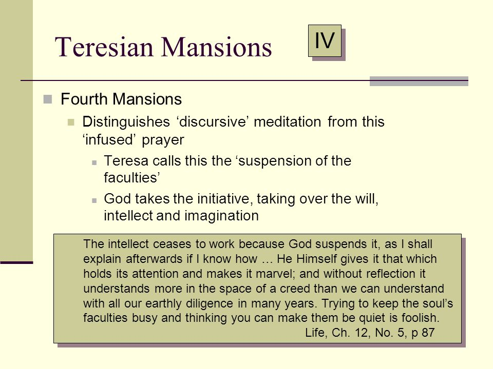 Teresian Mansions IV Fourth Mansions