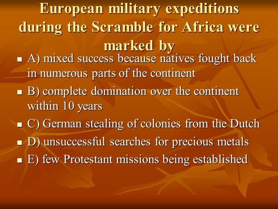 European military expeditions during the Scramble for Africa were marked by