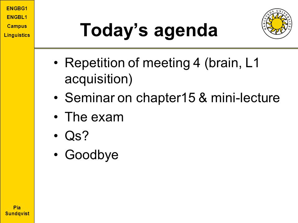 Today's agenda Repetition of meeting 4 (brain, L1 acquisition)