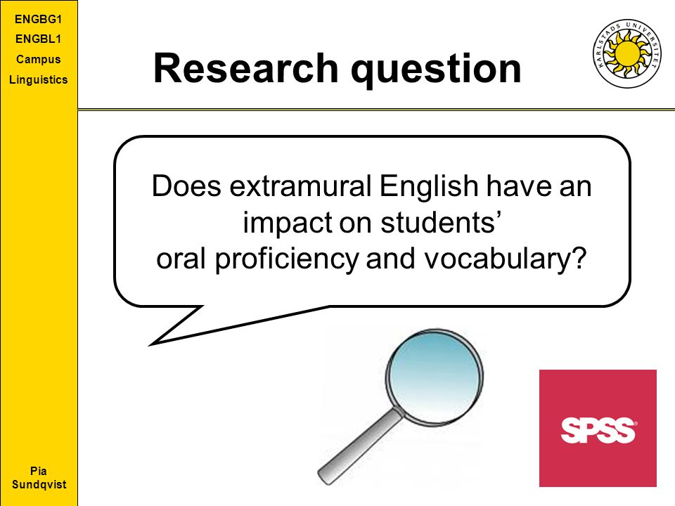 Research question Does extramural English have an impact on students'