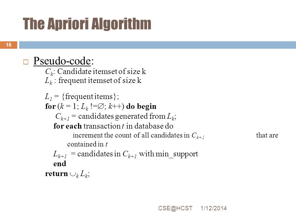 The Apriori Algorithm Pseudo-code: Ck: Candidate itemset of size k
