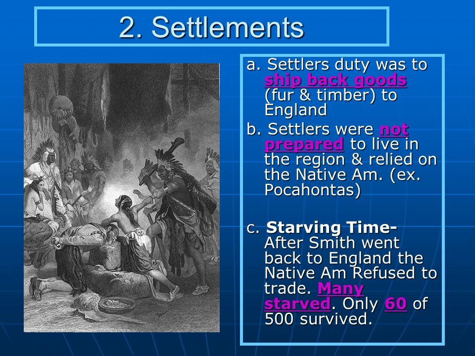 2. Settlements a. Settlers duty was to ship back goods (fur & timber) to England.