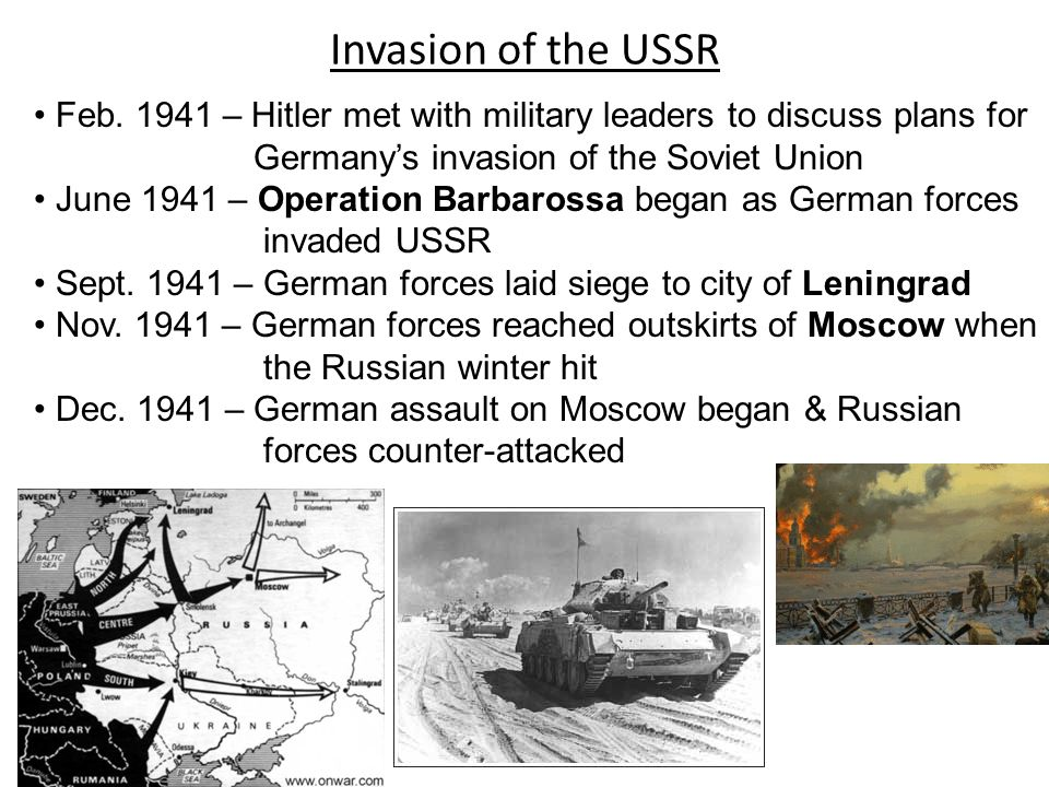 Invasion of the USSR Feb. 1941 – Hitler met with military leaders to discuss plans for. Germany's invasion of the Soviet Union.
