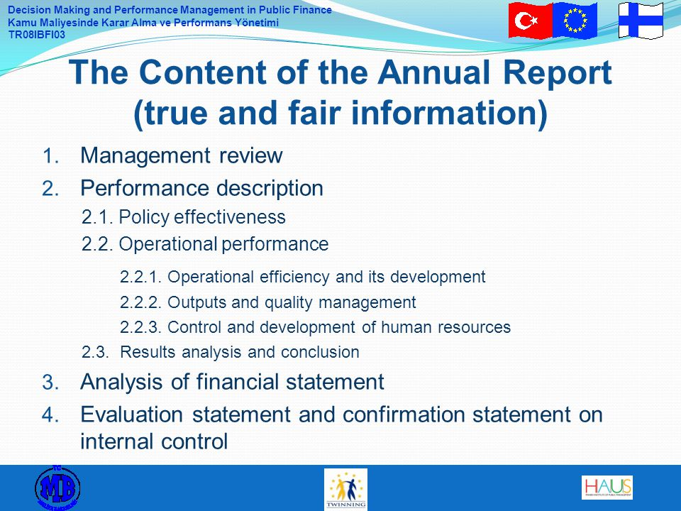 The Content of the Annual Report (true and fair information)