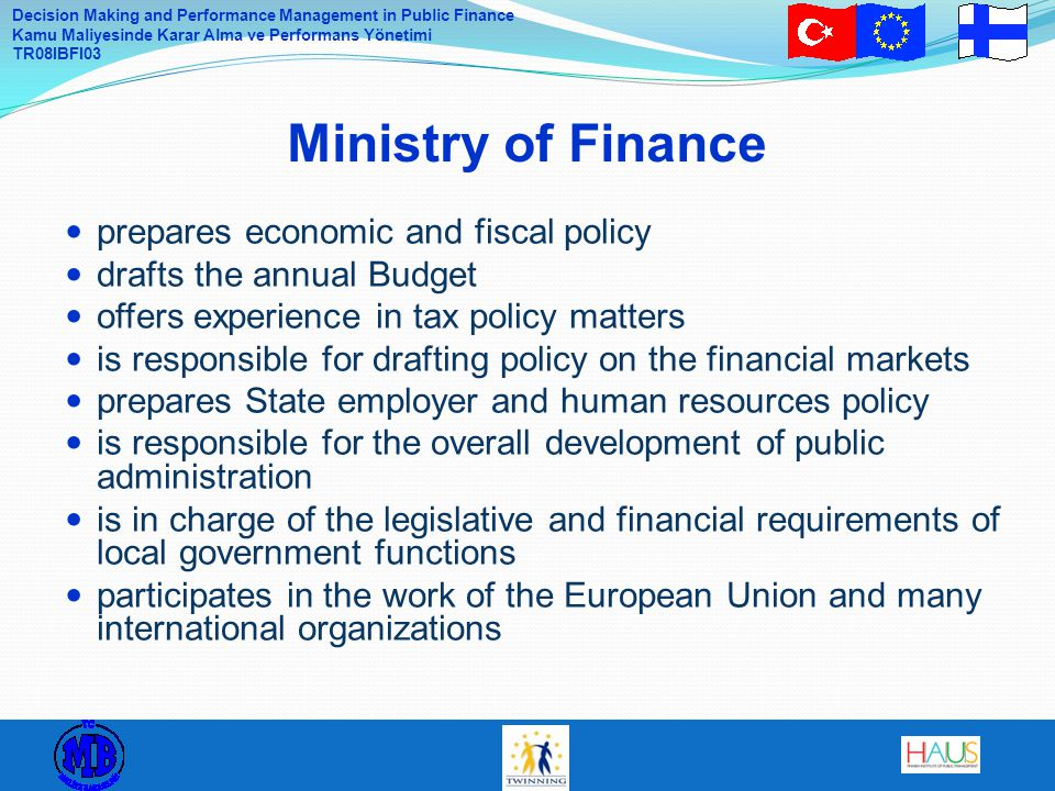 Ministry of Finance prepares economic and fiscal policy