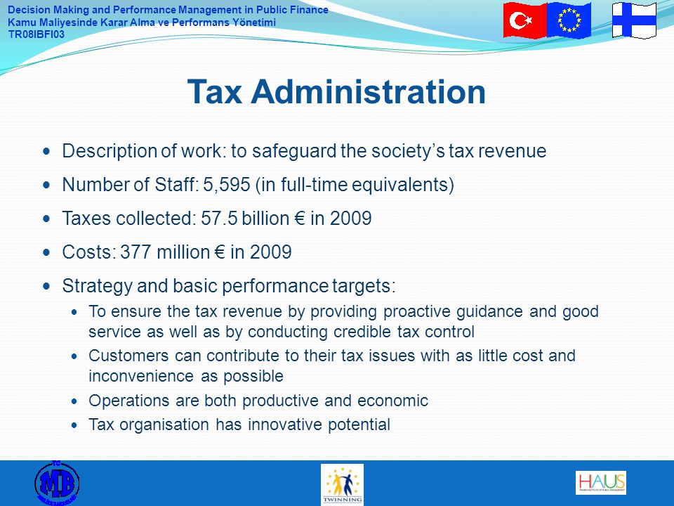Tax Administration Description of work: to safeguard the society's tax revenue. Number of Staff: 5,595 (in full-time equivalents)