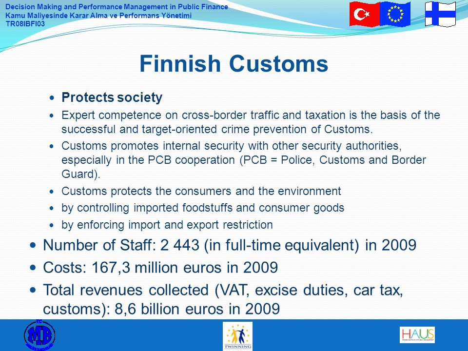 Finnish Customs Protects society.