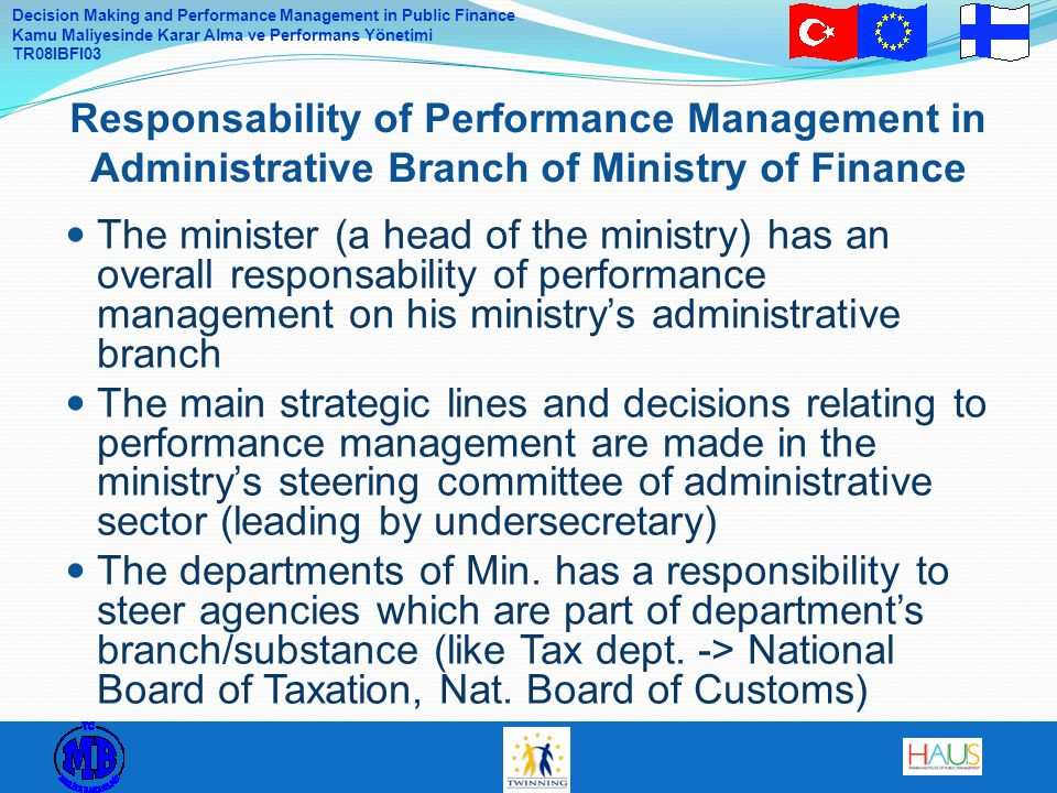 Responsability of Performance Management in Administrative Branch of Ministry of Finance