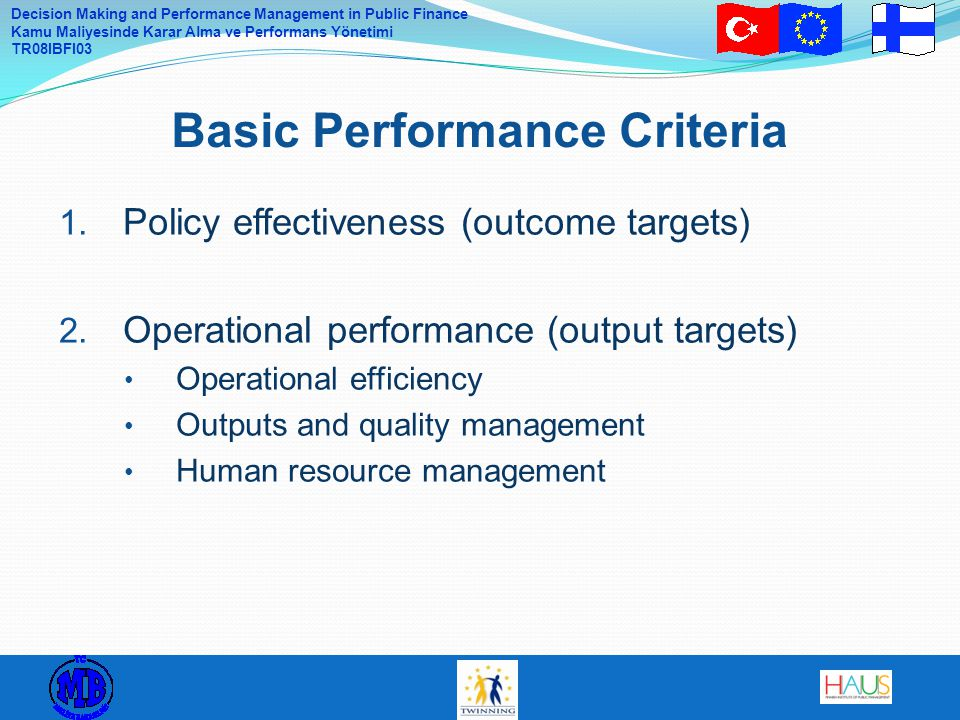 Basic Performance Criteria