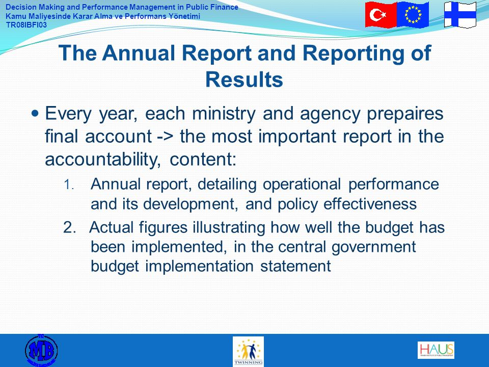 The Annual Report and Reporting of Results