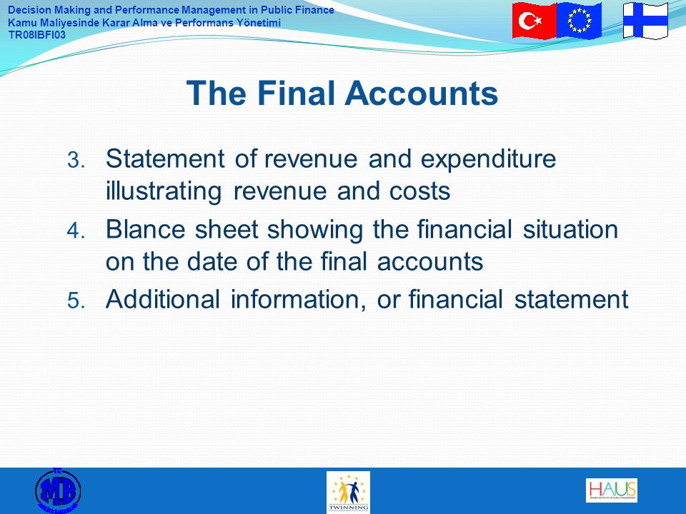 The Final Accounts Statement of revenue and expenditure illustrating revenue and costs.