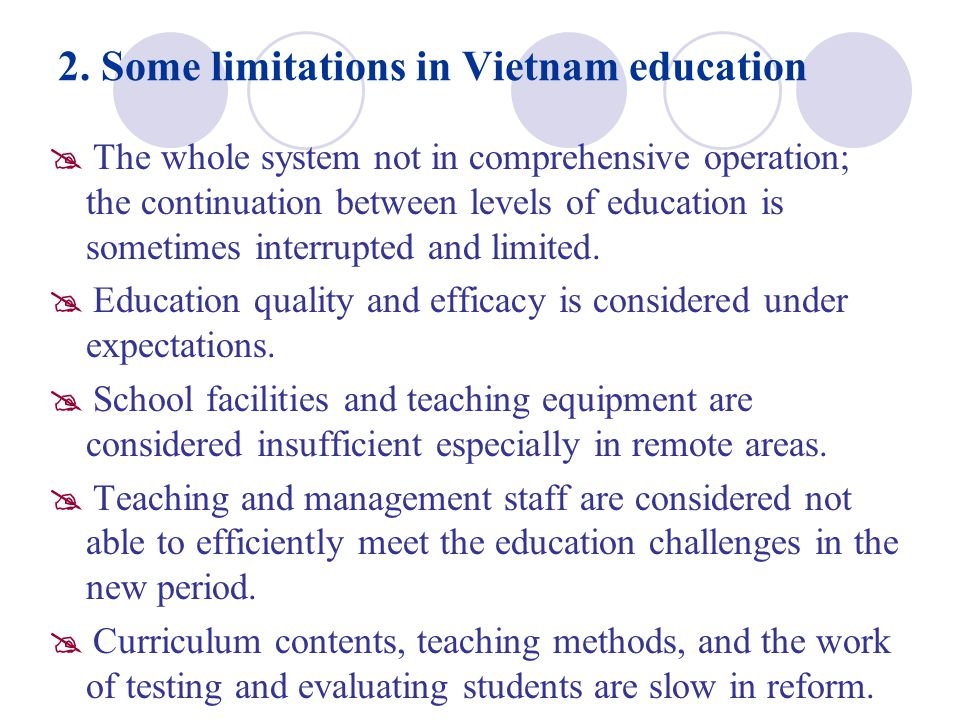 2. Some limitations in Vietnam education