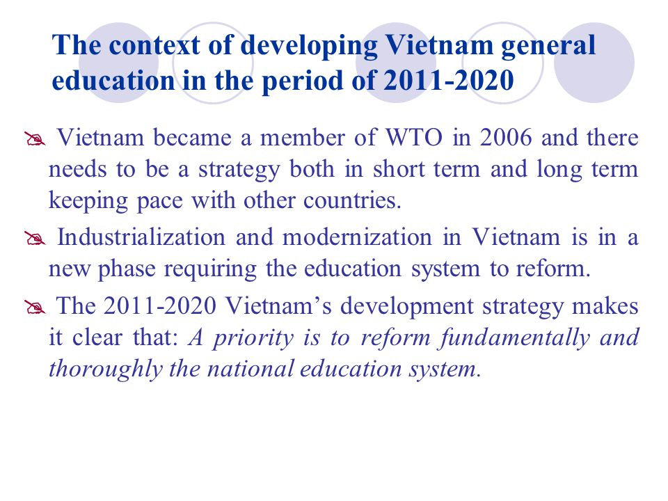 The context of developing Vietnam general education in the period of