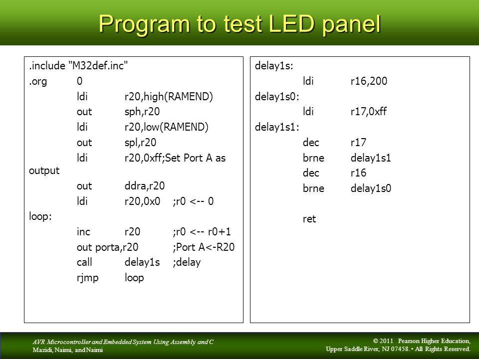 Program to test LED panel