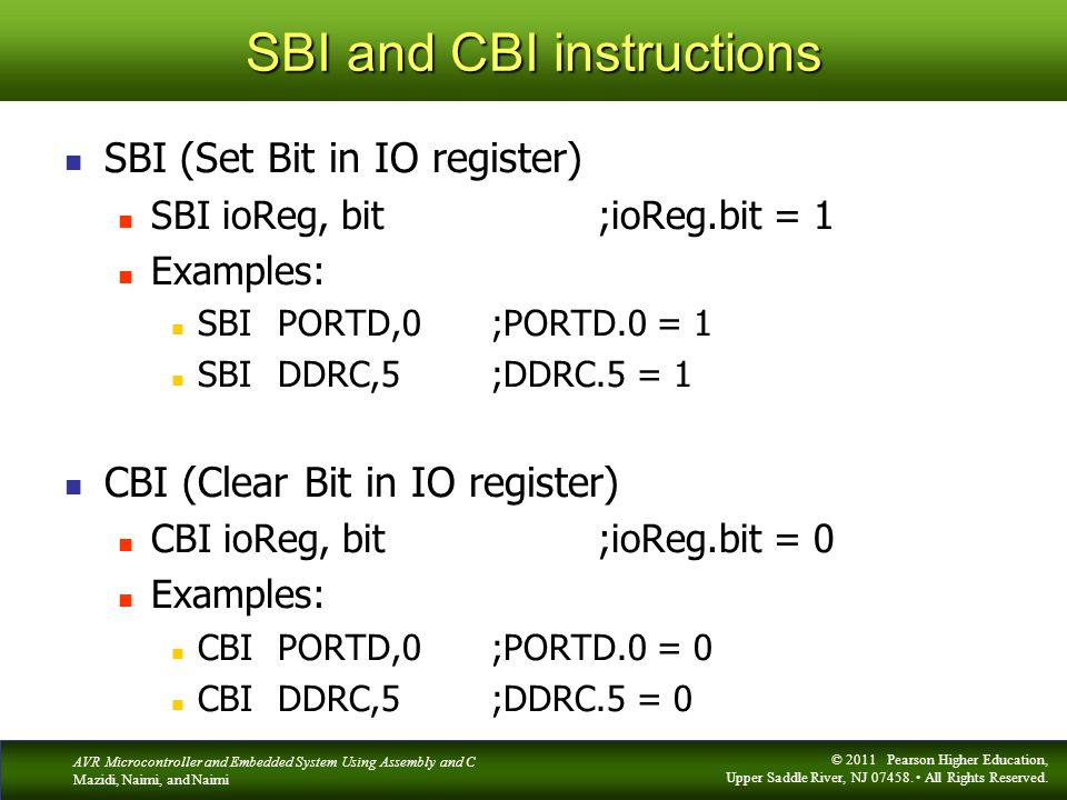 SBI and CBI instructions