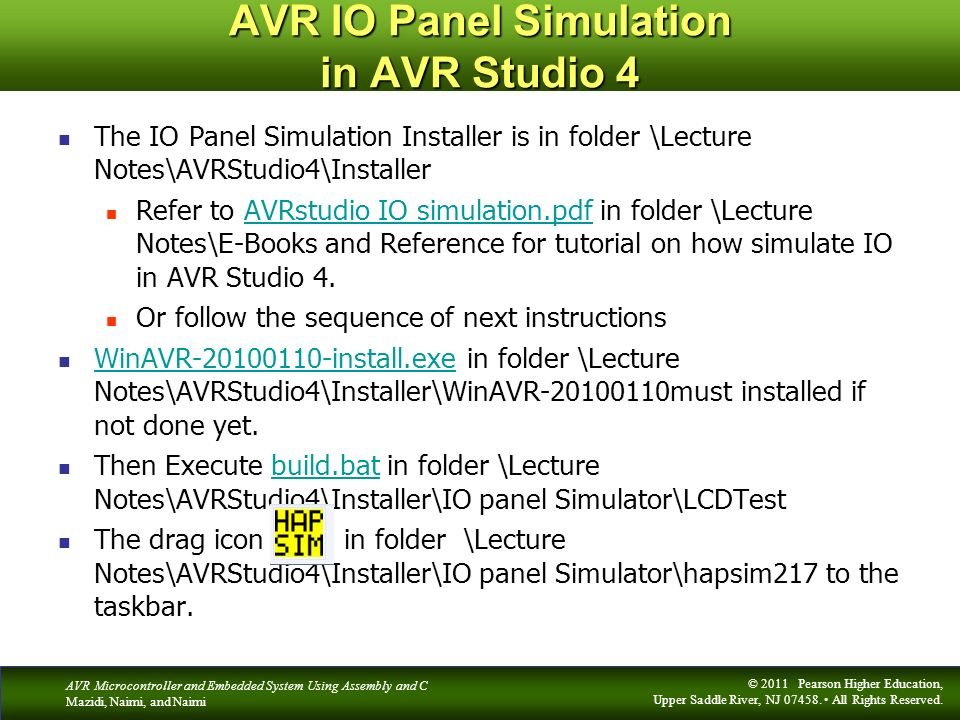 AVR IO Panel Simulation in AVR Studio 4
