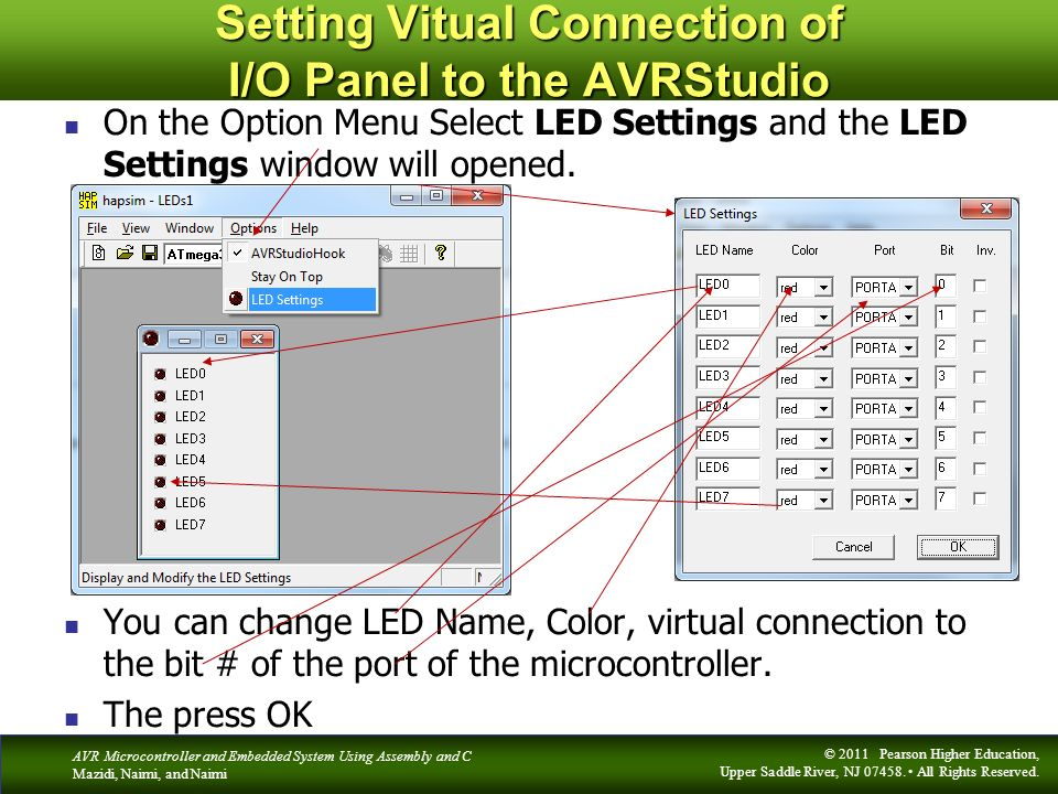Setting Vitual Connection of I/O Panel to the AVRStudio