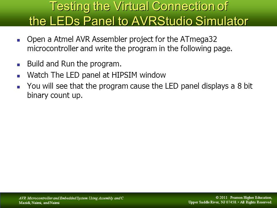 Testing the Virtual Connection of the LEDs Panel to AVRStudio Simulator