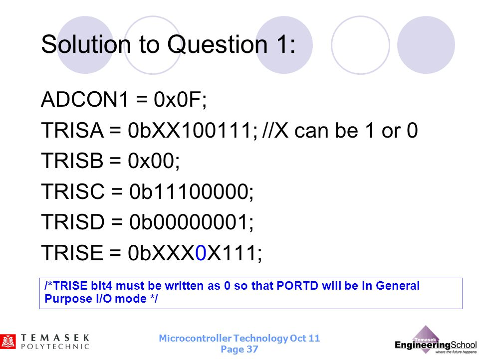 Solution to Question 1: ADCON1 = 0x0F;