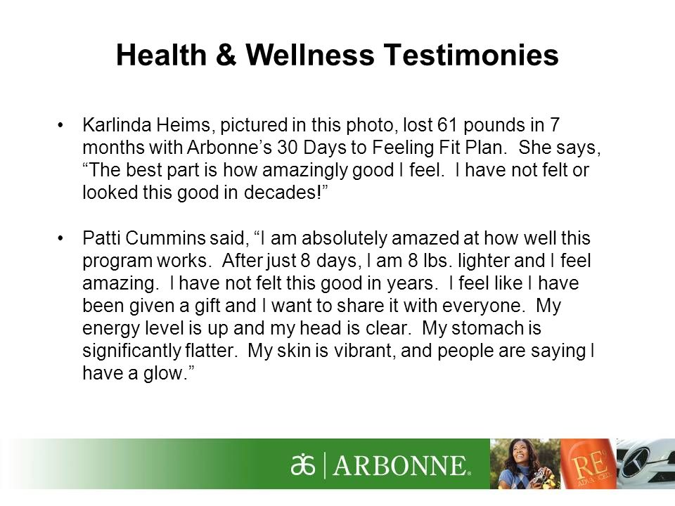 Health & Wellness Testimonies