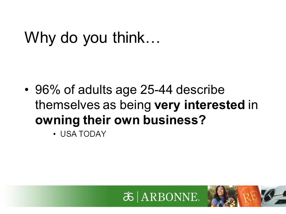 Why do you think… 96% of adults age describe themselves as being very interested in owning their own business