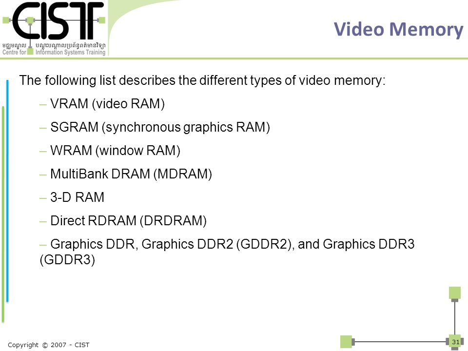 Video Memory The following list describes the different types of video memory: VRAM (video RAM) SGRAM (synchronous graphics RAM)