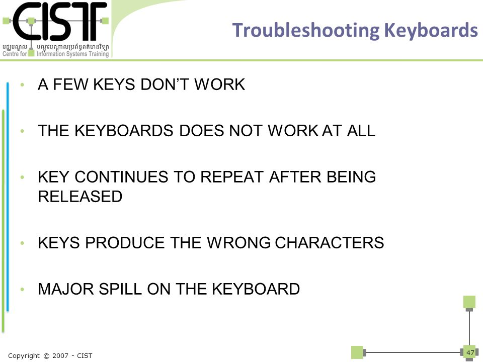 Troubleshooting Keyboards