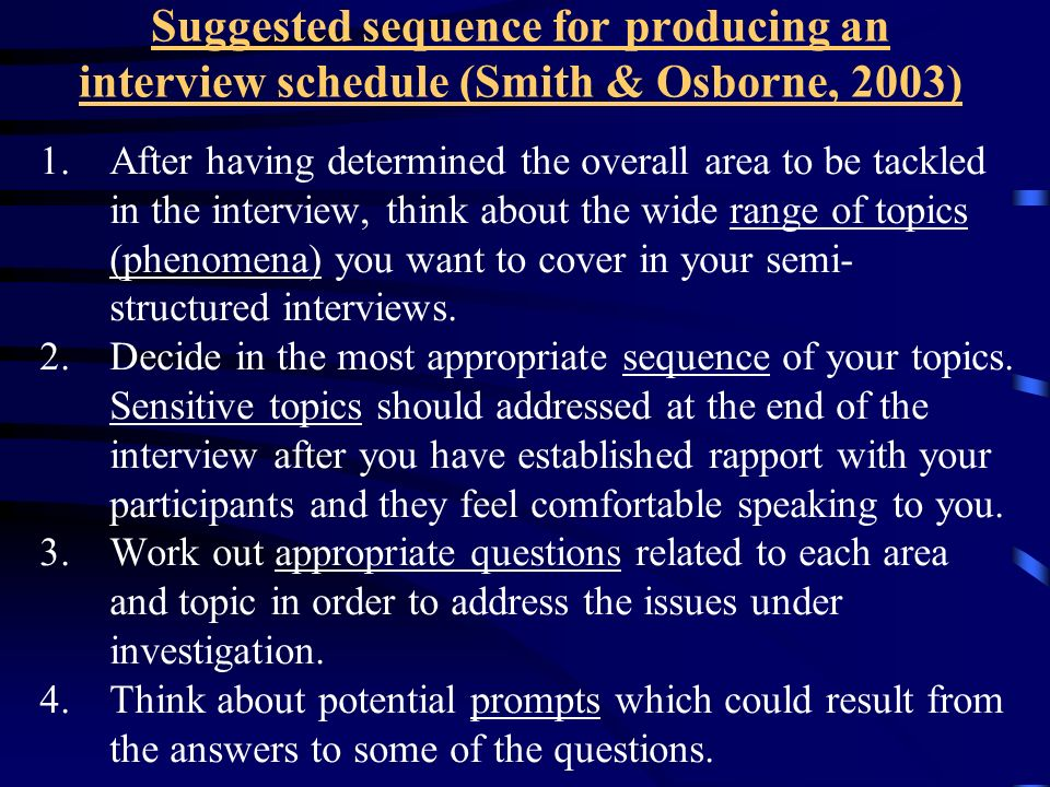 Suggested sequence for producing an interview schedule (Smith & Osborne, 2003)