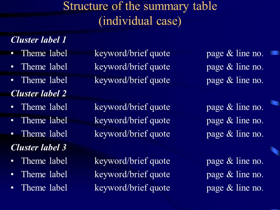 Structure of the summary table (individual case)