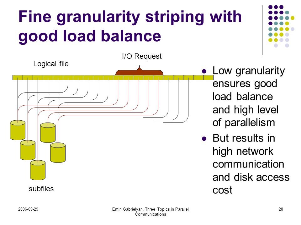 Fine granularity striping with good load balance