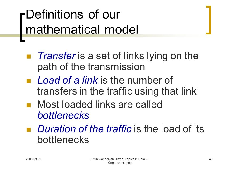 Definitions of our mathematical model