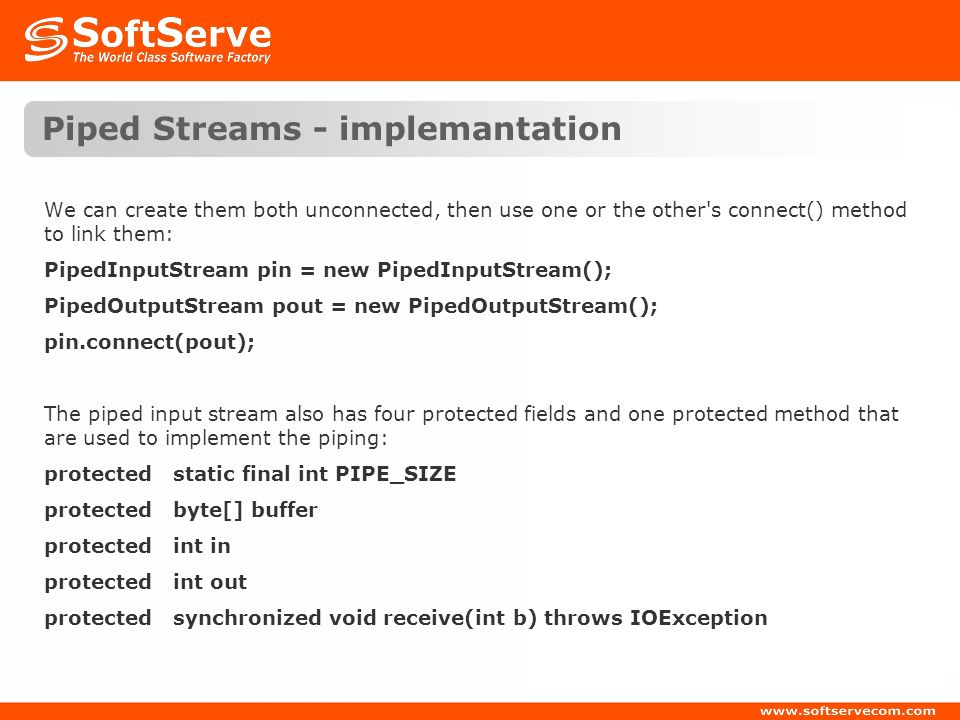 Piped Streams - implemantation
