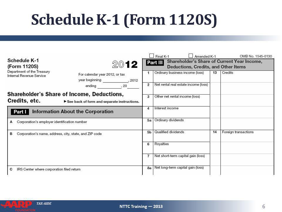 schedule k-1 pub 4491 – pg 123 nttc training — ppt download