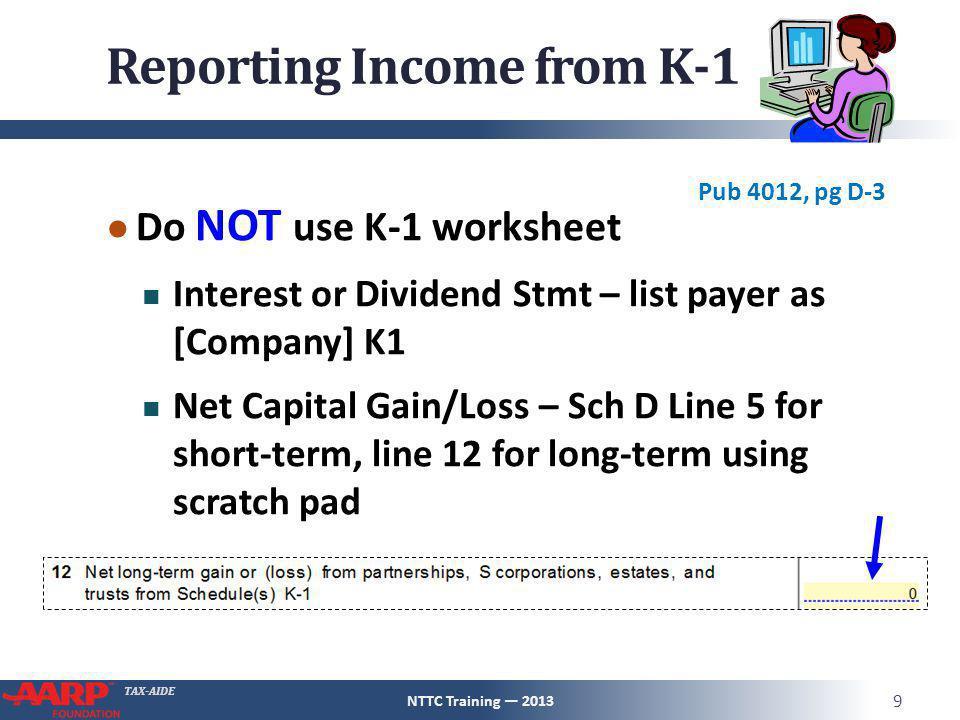 Schedule K1 Pub 4491 Pg 123 Nttc Training Ppt Download. Worksheet. 2013 Qualified Dividends Worksheet At Clickcart.co