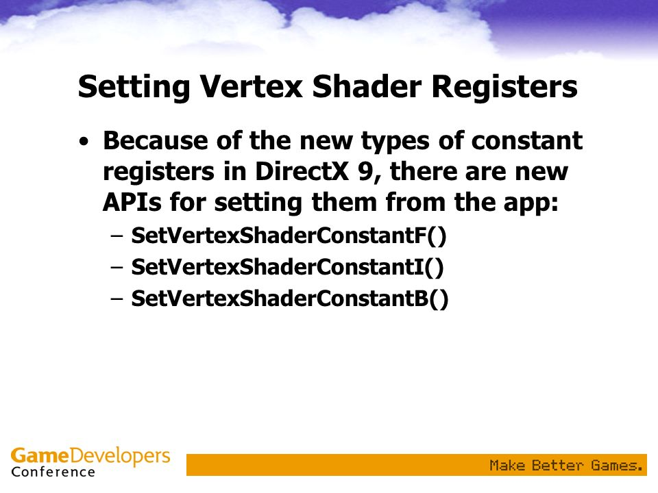 Setting Vertex Shader Registers
