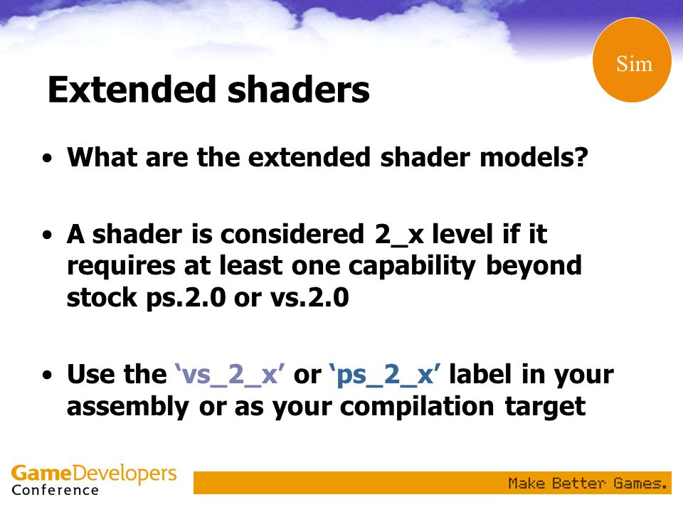 Extended shaders What are the extended shader models