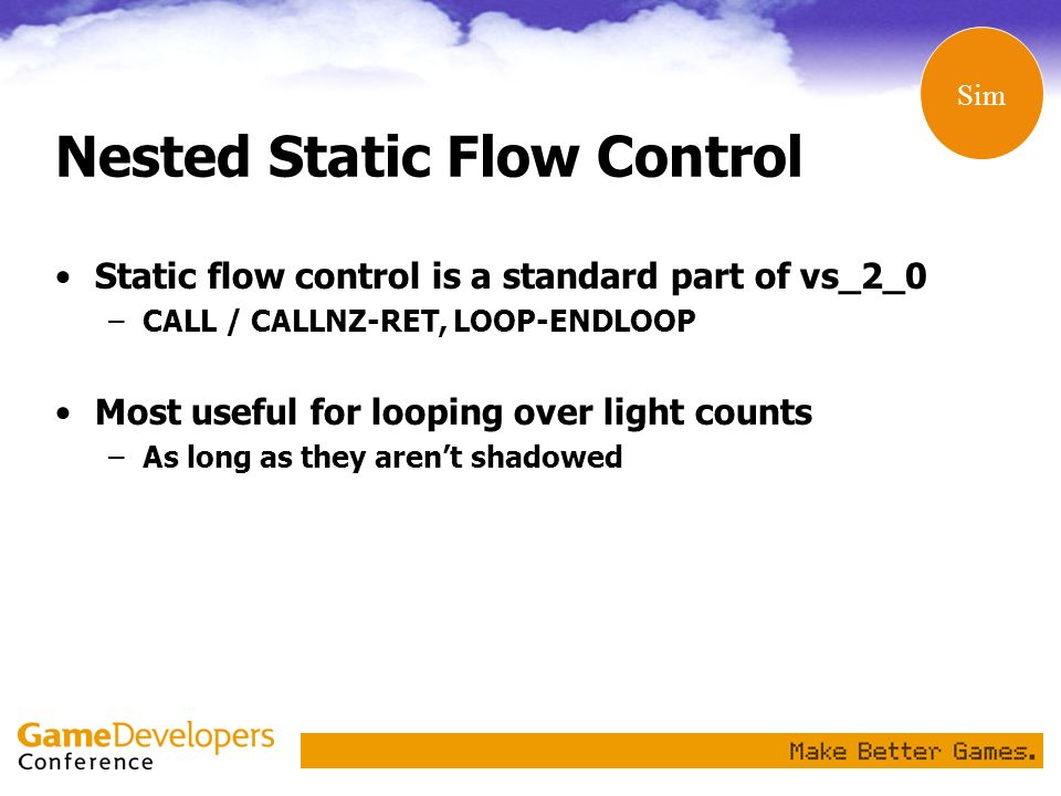 Nested Static Flow Control