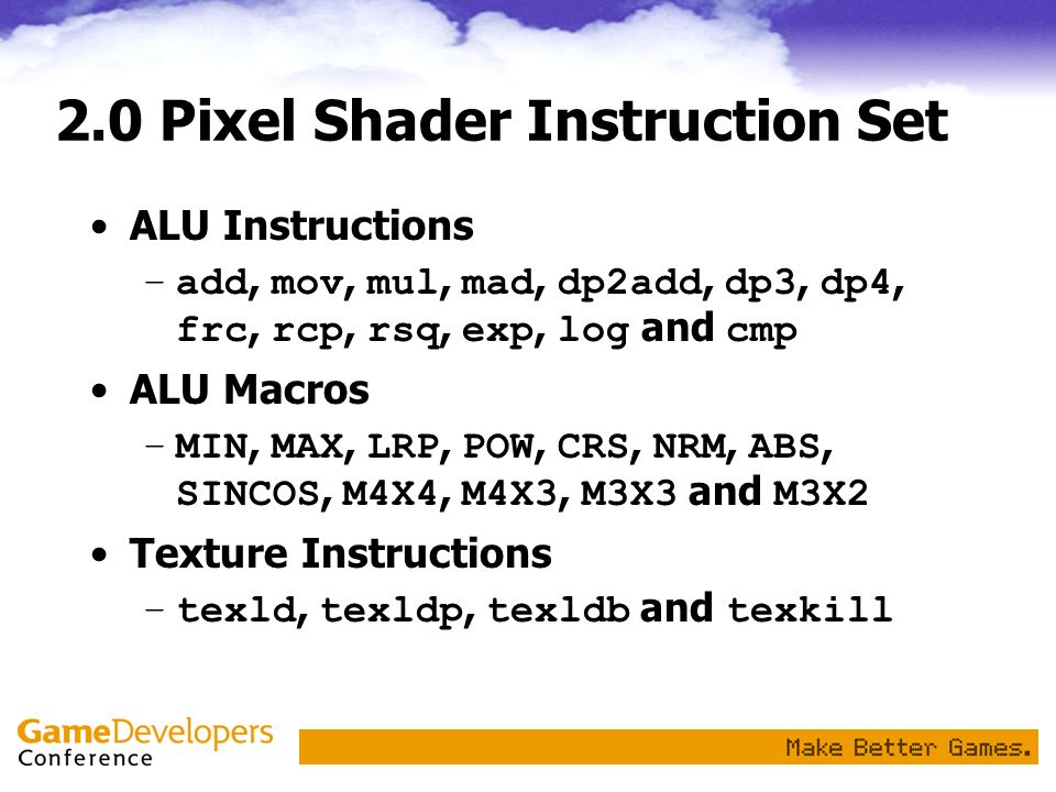 2.0 Pixel Shader Instruction Set